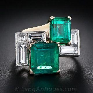 5.00 Carats Mid-Century Emerald and Diamond Ring