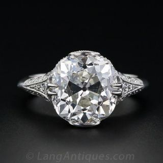 5.00 ct. Antique Cushion-Cut French Made Diamond Ring - 1