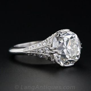 5.00 ct. Antique Cushion-Cut French Made Diamond Ring