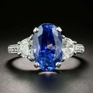 5.08 Carat No-Heat Ceylon Sapphire Platinum Diamond Ring - GIA - 2
