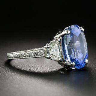 5.08 Carat No-Heat Ceylon Sapphire Platinum Diamond Ring - GIA