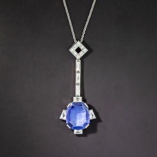 5.50 Carat No-Heat Burma Sapphire and Diamond Deco-Style Necklace - 1