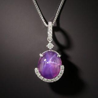 5.81 Carat Star Sapphire  Diamond Drop Necklace - - 1