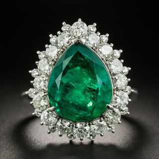 5.85 Carat Pear Shaped Colombian Emerald and Diamond Ring  - 1