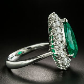 5.85 Carat Pear Shaped Colombian Emerald and Diamond Ring