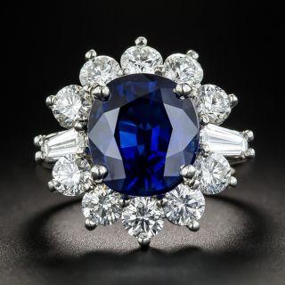 5.97 Carat Gem Australian Sapphire Platinum Diamond Ring - 1