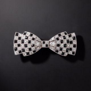 Art Deco Diamond and Onyx Bow Pin - 0