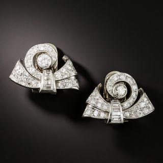 Late Art Deco Diamond Scroll Dress Clips/Earrings - 2
