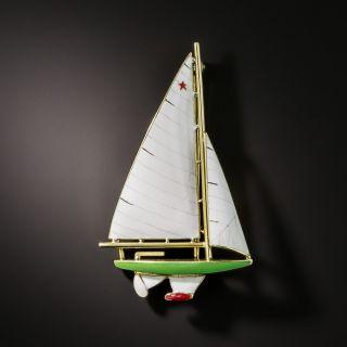 Vintage Enamel Sailboat Brooch by Sloan & Company - 1