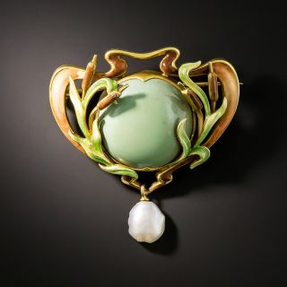 Art Nouveau Turquoise, Enamel, and Pearl Brooch/Pendant by Bippart, Griscom & Osborn - 1