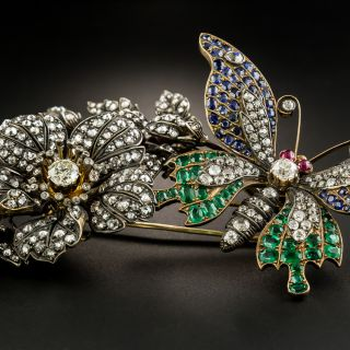 Colossal Victorian En Tremblant Butterfly and Flower Brooch