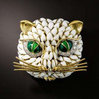 Vintage Enamel and Diamond Cat Brooch - 1