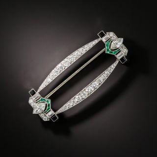 Art Deco Emerald, Onyx, and Diamond Brooch - 2