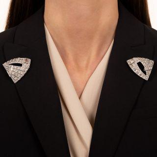 Large Art Deco Diamond Dress Clips