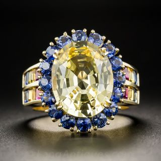 6.36 Ct. Natural No-Heat Yellow Sapphire and Blue Sapphire Ring