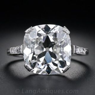 6.48 Carat Antique Cushion Cut Diamond Ring