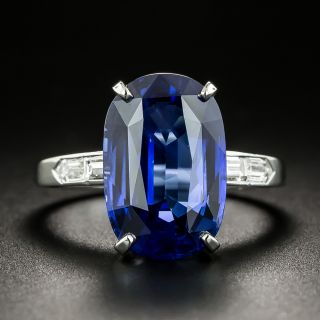 6.60 Carat Sapphire and Baguette Diamond Ring - 2