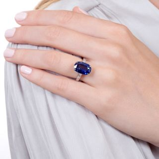 6.60 Carat Sapphire and Baguette Diamond Ring