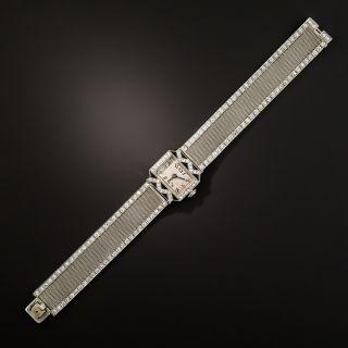 Art Deco Diamond and Onyx Mesh Watch  - 3