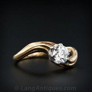 .60 Carat Antique Cushion Cut Diamond Art Nouveau Engagement Ring