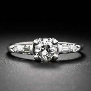 .60 Carat Diamond Mid-Century Engagement Ring in Platinum