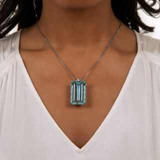 65.00 Carat Aquamarine and Diamond Pendant/Brooch