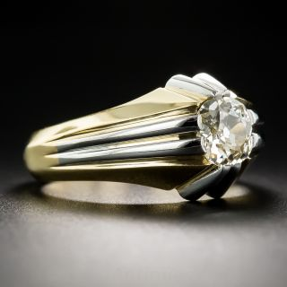 French .65 Carat Diamond Platinum and 18K Art Deco Ring
