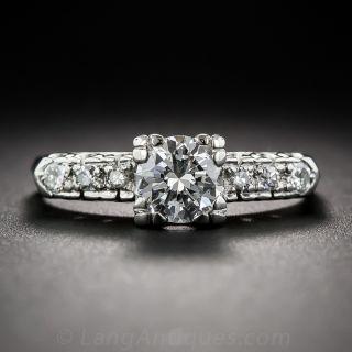 .67 Carat Diamond Mid-Century Platinum Engagement Ring