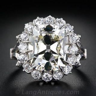 7.02 Carat Antique Cushion Cut Diamond Ring