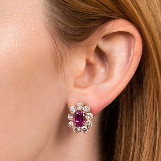 7.40 Carat Gem No-Heat Ceylon Pink Sapphire and Diamond Earrings - AGL