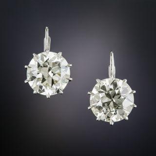 7.41 Carat European-Cut Diamond Stud Earrings - GIA - 1
