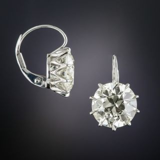 7.41 Carat European-Cut Diamond Drop Earrings - GIA