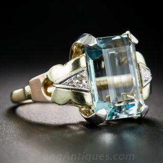7.50 Carat Aquamarine Retro Ring
