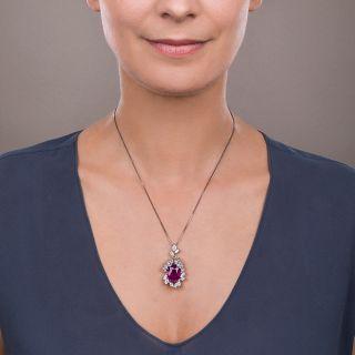 7.71 Carat Burma Ruby and Platinum Diamond Pendant