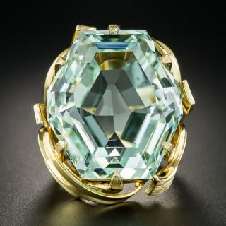 70 Carats Hexagonal Unheated Aquamarine Ring - 1