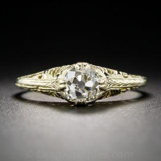 .76 Carat Antique Cushion Diamond Ring - Yellow Gold