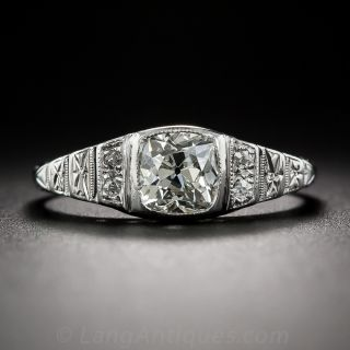.79 Carat Cushion-Cut Diamond Art Deco Engagement Ring - GIA J VS1