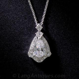.85 Carat Art Deco Pear-Shape Diamond Pendant