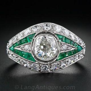 .85 Carat Diamond and Emerald Art Deco Ring
