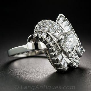 .87 Carat Mid-Century Platinum and Diamond Cocktail Ring