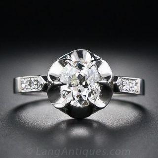 .88 Carat Antique Cushion Diamond Antique Style Ring
