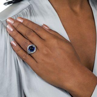 9.60 Carat No-Heat Burma Sapphire and Diamond Ring