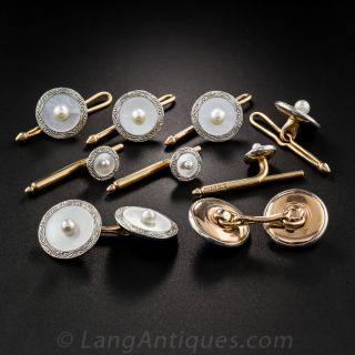 9 Piece Mother-of-Pearl Cufflink and Stud Set by Krementz