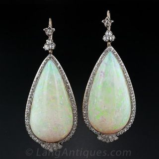 90.00 Carats (!) Antique Opal and Diamond Dangle Earrings - 1