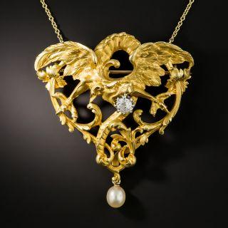 French Art Nouveau Large Griffin Necklace/Brooch - 1