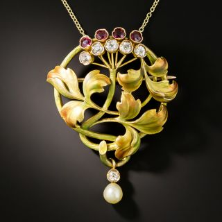 Art Nouveau Autumn Enamel, Ruby, Diamond, and Pearl Pendant/Brooch - 1