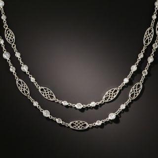 Long 8.25 Carat Diamond Platinum Chain Necklace - 1