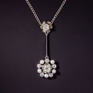Circa 1920's Diamond and Seed Pearl Drop Necklace - 0