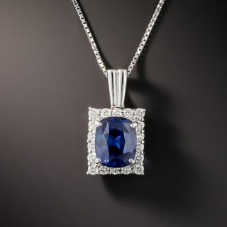 Estate 2.58 Carat Sapphire and Diamond Pendant Necklace - 2