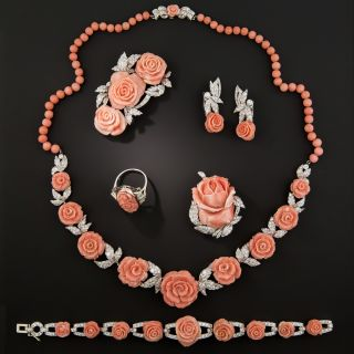 Art Deco Viennese Carved Coral and Diamond Parure - 1